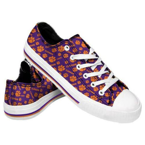 Clemson Tigers Shoes - Womens Low Top Repeat Print Canvas Shoe