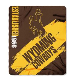 "Wyoming Cowboys Blanket - ""Painted""  Fleece Throw (50"" x 60"")"