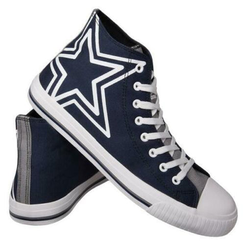 Dallas Cowboys Shoes - Men's High Top Canvas Big Logo Shoes