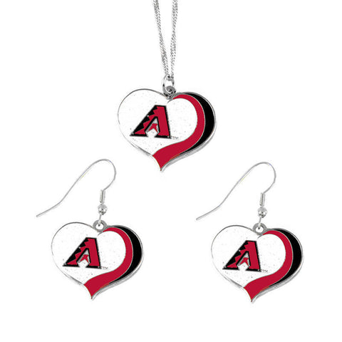 Arizona Diamondbacks Necklace - Glitter Swirl Heart Necklace & Earrings Set