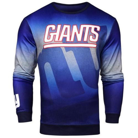 New York Giants Sweater - Men's Gradient Printed Crew Neck Sweater