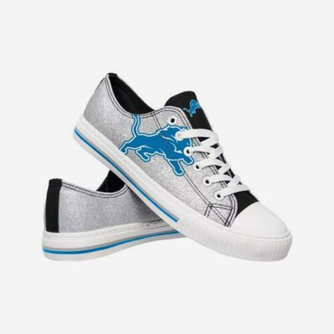 Detroit Lions Shoes - Womens Glitter Low Top Canvas Shoe