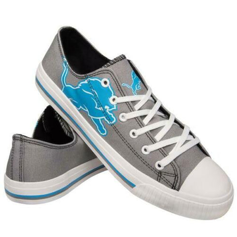 Detroit Lions Shoes - Men's Low Top Canvas Logo Shoe