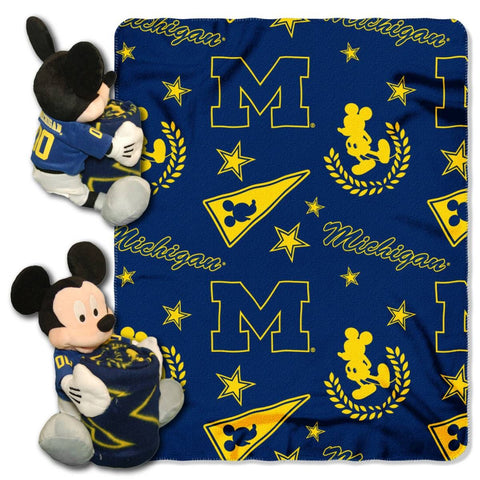 Michigan Wolverines Blanket - Mickey Hugger and Fleece Throw Set