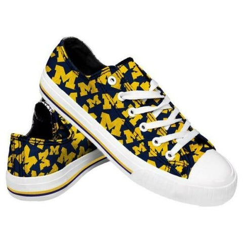 Michigan Wolverines Shoes - Womens Low Top Repeat Print Canvas Shoe