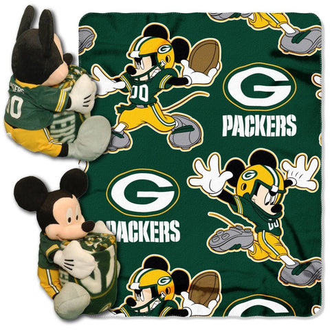 Green Bay Packers Blanket - Mickey Hugger and Fleece Throw Set