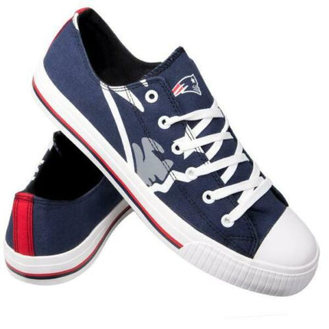 New England Patriots Shoes - Men's Low Top Canvas Logo Shoe