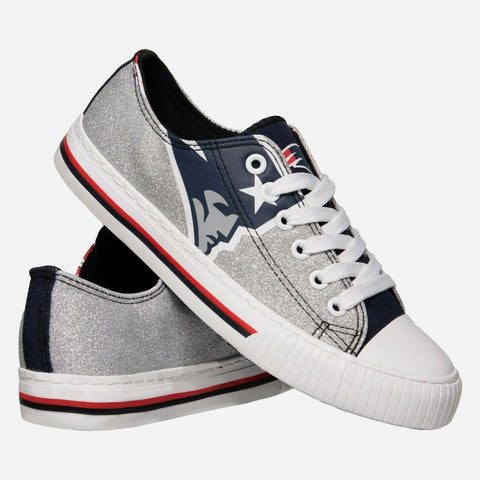 New England Patriots Shoes - Womens Glitter Low Top Canvas Shoe