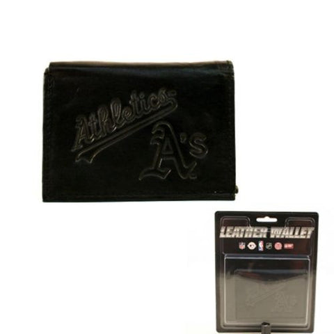 Oakland Athletics Wallet - Black Tri-Fold Leather Wallet