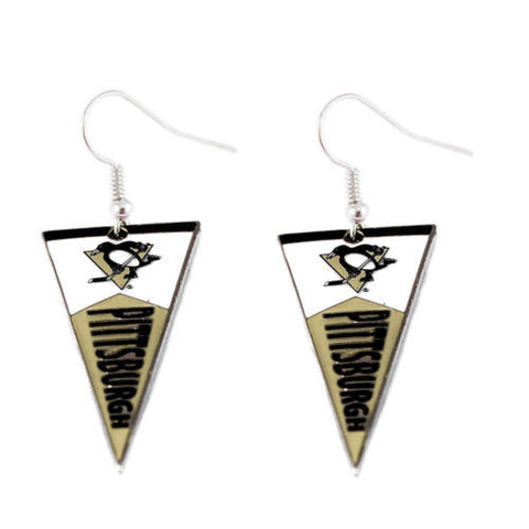 Pittsburgh Penguins earrings: pennant earring dangle