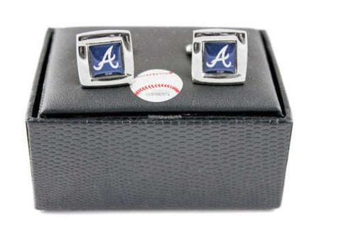 Atlanta Braves Cuff Links - Wedding grooms gift set - Square