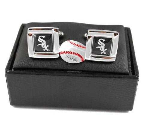 Chicago White Sox Cuff Links - Wedding grooms gift set - Square