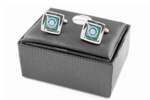 Seattle Mariners Cuff Links - Wedding grooms gift set - Square