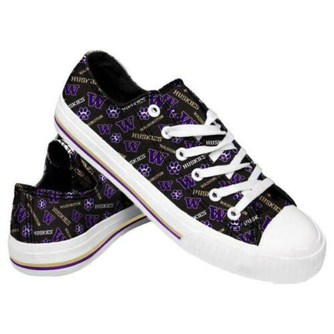 Washington Huskies Shoes - Womens Low Top Repeat Print Canvas Shoe