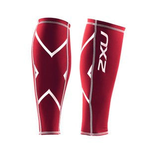 2XU Men's Non-Stirrup Compression Calf Guard, Red/Red, X-Small