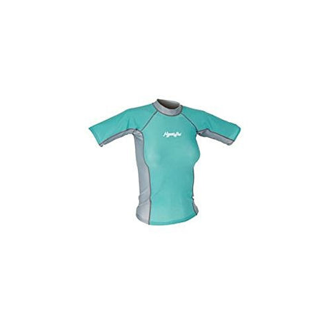 Hyperflex Women's Short Sleeve Rash Guard, Powder Blue/Silver