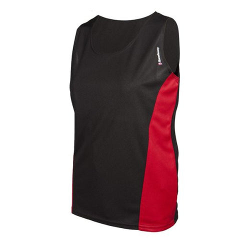 RaceReady Women's RaceDay Track Running Singlet, Black/Red