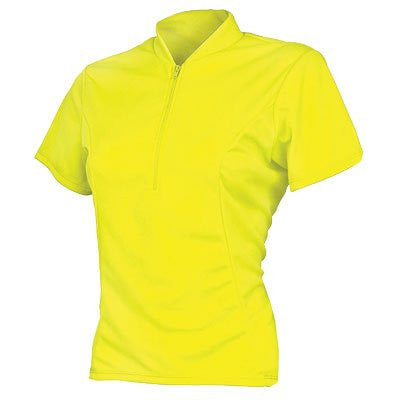 Basik Women's Classic Short Sleeved Cycling Jersey, Neon Yellow