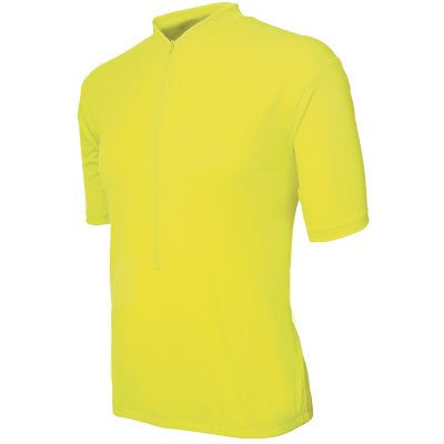 Basik Men's Classic Short Sleeved Cycling Jersey, Neon Yellow