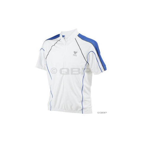 Tyr Men's Cycling Jersey White/Royal (Small)