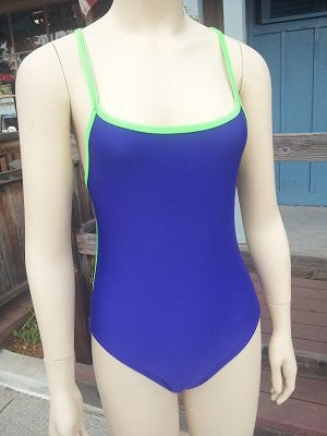TS Swim Women's One-Piece Swimsuit - Purple with Neon Green Piping