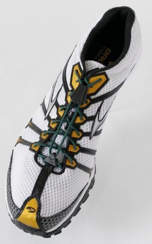Yankz Sure Lace System - Hunter Green Laces with White Casings