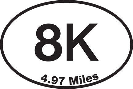 8K (4.97 Miles) Sticker - Set of 4