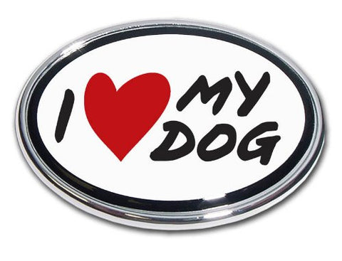 Elektroplate I Love My Dog Chrome Auto Emblem