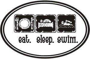 1Line Sports Eat Sleep Swim Sticker (Set of 4)