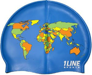 1Line Sports MAP Silicone Swim Cap - Royal