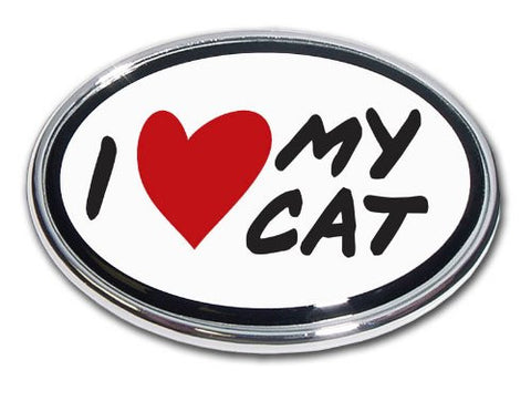 Elektroplate I Love My Cat Chrome Auto Emblem