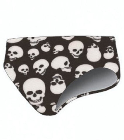 TS Swim Men's Swim Brief (Water Polo Cut) - Black with Skulls