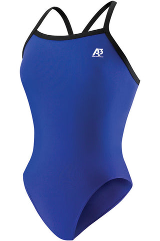 A3 Performance Women's One Piece Swimsuit, Royal with Black Trim