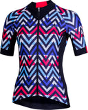RAFFINATA 2.0 Women's Short Sleeve Cycling Jersey Blue/Black/Fuschia