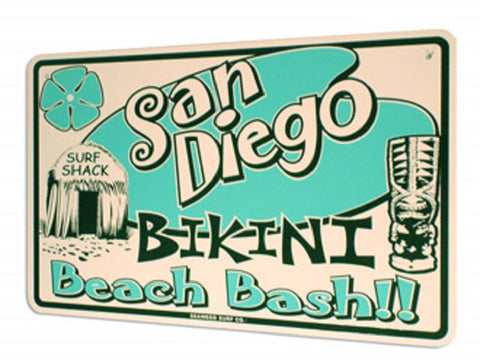 "Seaweed Surf Co ""San Diego Beach Bash"" Aluminum Sign 18""x12"" in White"