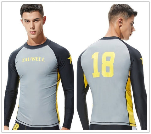 SEOBEAN TAUWELL Men's Long Sleeve Rash Guard Swimwear Surfing Shirt (Solid)