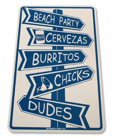 Seaweed Surf Co. Beach Party Sign White One Size