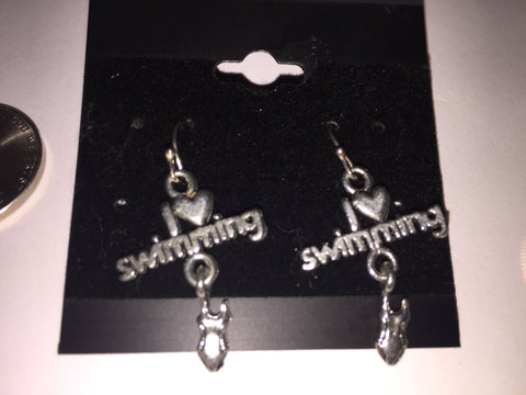 I love swimming earrings