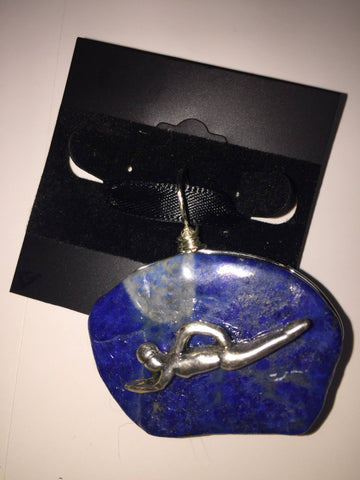 Blue Stone Pendant with Swimmer