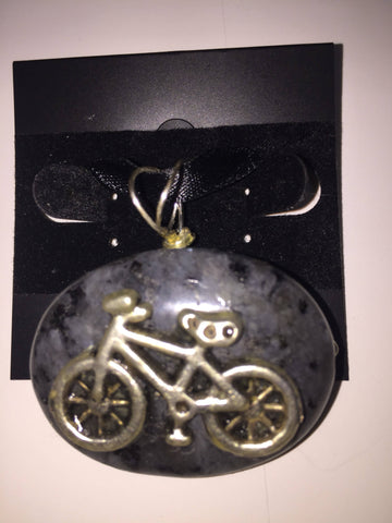 Stone Pendant - Bicycle - Charcoal Colored Stone