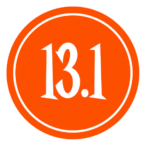 "13.1 Half Marathon Sticker - 4"" Circle (Orange) SET OF 4"