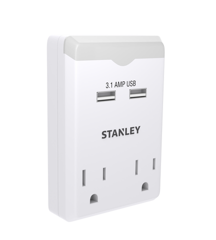STANLEY 2-Outlet 2 USB Night Light Wall Adapter, Case of 24 - wattsonsale