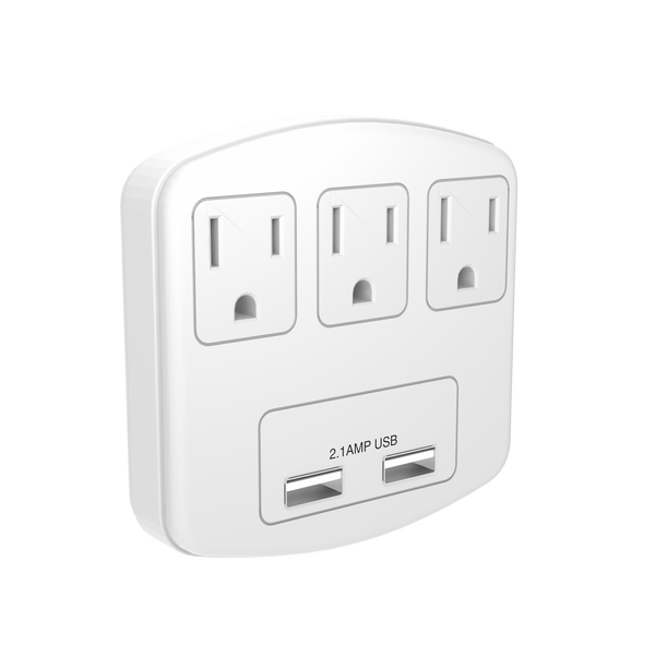 STANLEY 30407 3-Outlet Adapter with 2 USB Charging Ports - wattsonsale