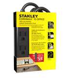 STANLEY 31132 15ft Low Profile Grounded Extension Cord, Black - wattsonsale