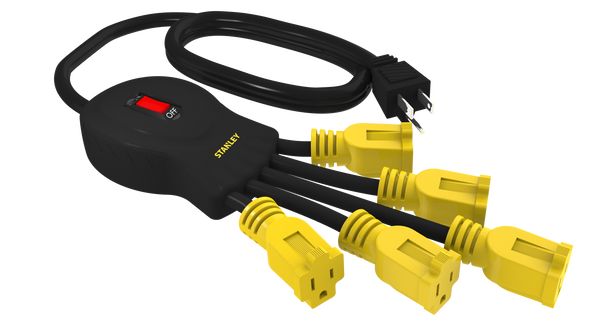 STANLEY 31500 Power Squid with 5-Grounded Outlets, Black/Yellow - wattsonsale