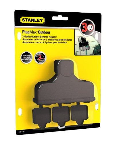 STANLEY 31110 PlugMax Outdoor Grounded 3-Outlet Covered Adapter, Black - wattsonsale