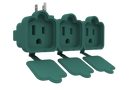 STANLEY 3-Outlet Adapter with Individual Outlet Covers, Green