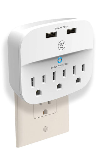 Westinghouse® 96004 Wall Surge 3. 3-Outlet 2 USB Wall Adapter - wattsonsale