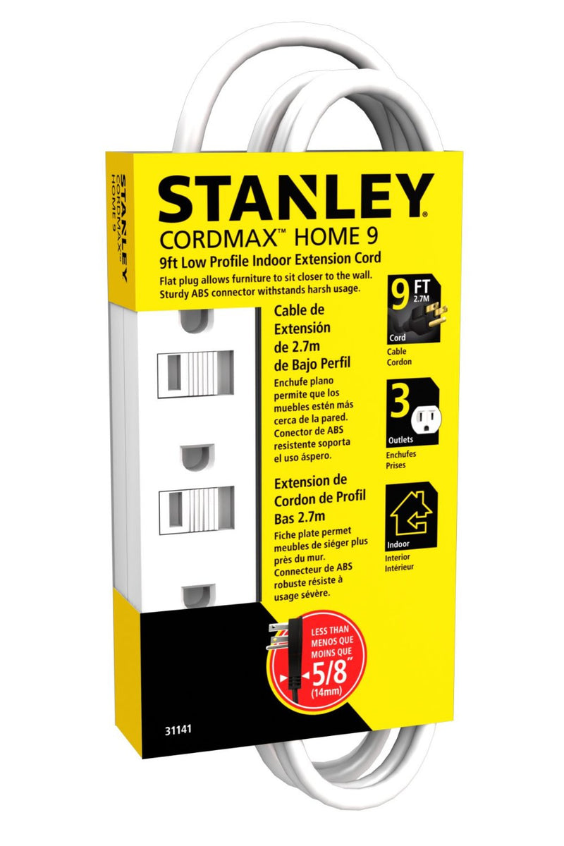 STANLEY 31141 9ft Grounded Extension Cord, White - wattsonsale