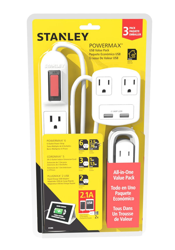 STANLEY 31306 Powermax USB 3 Piece Value Pack - wattsonsale